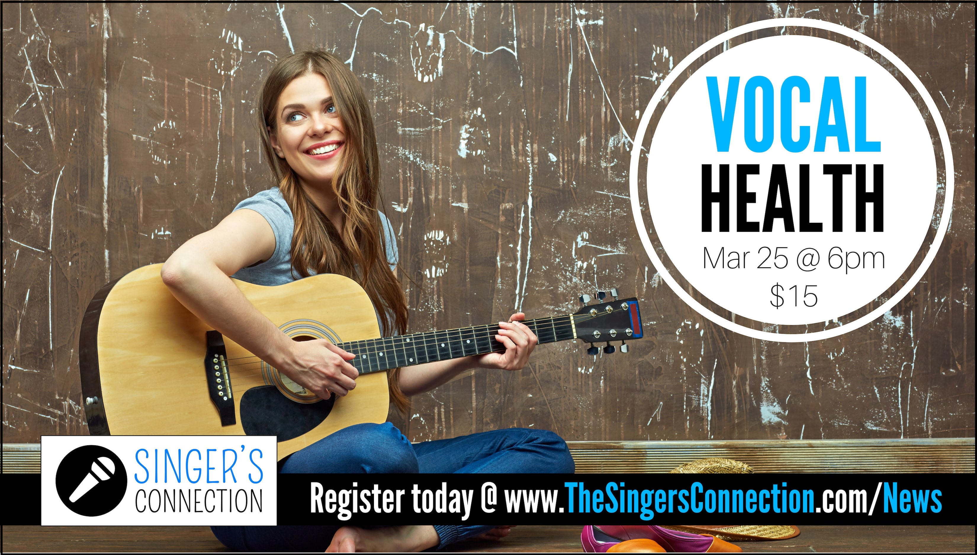 Vocal Health!  Join us for this AMAZING class as we discuss the physical, emotional, and nutritional aspects of taking care of your voice!  One of many singing workshops offered! Register today!
